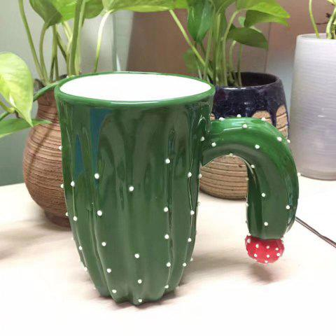 Buy Creative Cactus Ceramic Mug - GREEN  Mobile