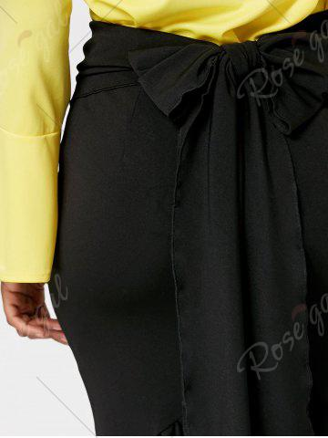Unique Fitted Belted Midi Mermaid Skirt - M BLACK Mobile