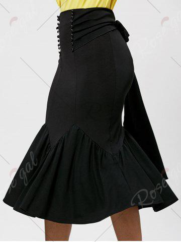 New Fitted Belted Midi Mermaid Skirt - M BLACK Mobile