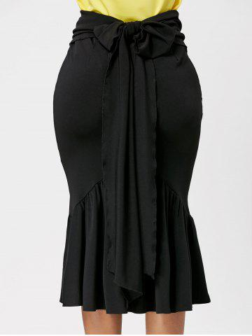 Affordable Fitted Belted Midi Mermaid Skirt - M BLACK Mobile
