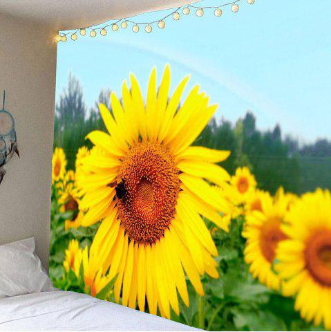 Wall Decor Sunflowers Print Waterproof Tapestry - Yellow - W79 Inch * L71 Inch