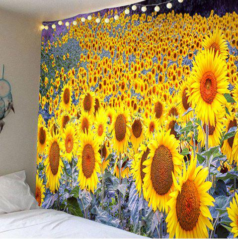 Waterproof Sunflowers Printed Wall Tapestry - Yellow - W79 Inch * L59 Inch