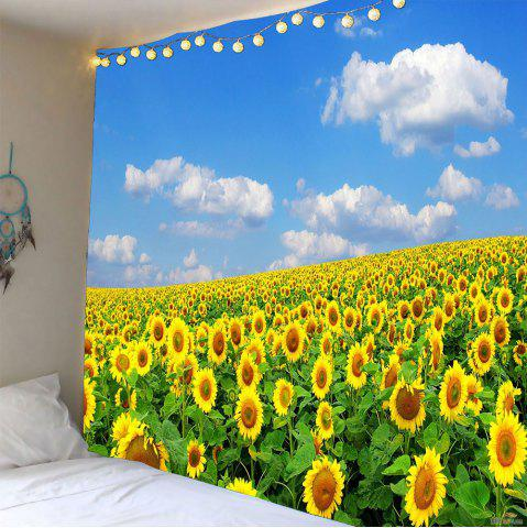 Sky and Sunflowers Pattern Waterproof Wall Hanging Tapestry - Yellow - W79 Inch * L71 Inch