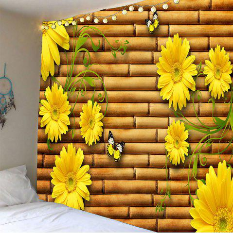 Waterproof Butterflies Sunflowers Printed Tapestry - Yellow - W59 Inch * L51 Inch
