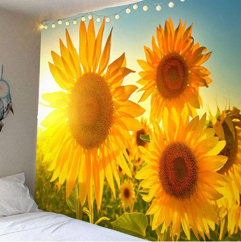 Sunlight Sunflowers Printed Waterproof Tapestry - Yellow - W79 Inch * L71 Inch