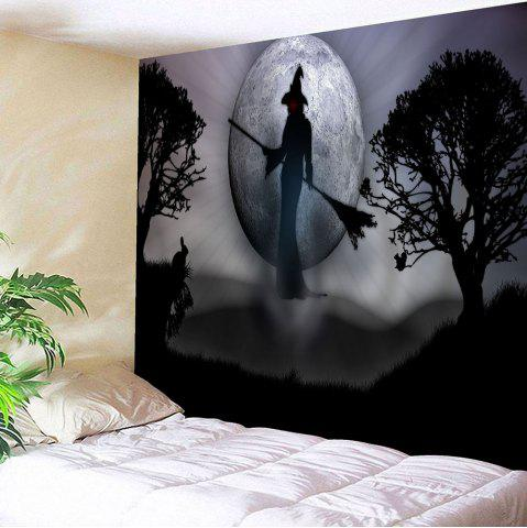 Wall Hanging Halloween Witch Print Tapestry - Gray - W91 Inch * L71 Inch