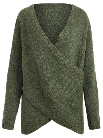 Trendy Surplice Drop Shoulder Plus Size Sweater - ONE SIZE ARMY GREEN Mobile
