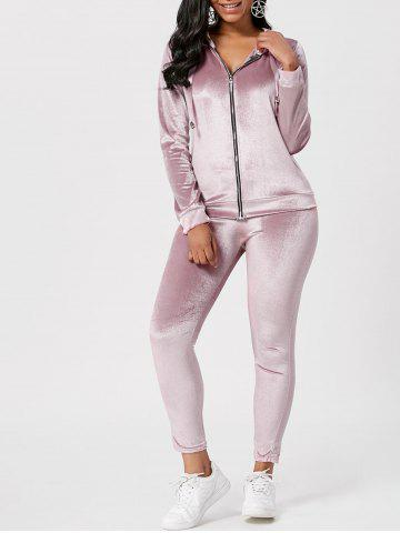 Drawstring Hoodie with Pants Sweat Suits - Light Pink - S