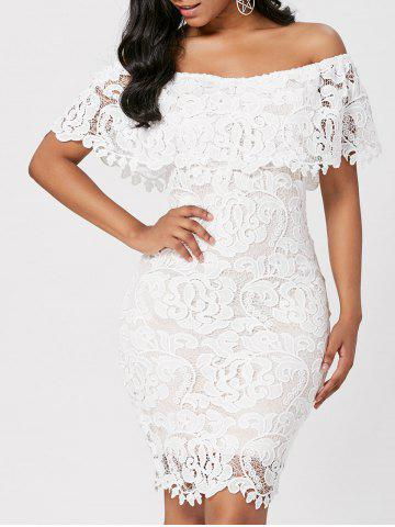 Off Shoulder Lace Bodycon Sheath Formal Dress - White - L