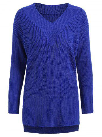 Drop Shoulder High Low Plus Size Sweater - Blue - One Size