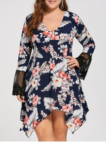Floral Lace Flare Sleeve Plus Size Asymmetric Dress - Black - 5xl