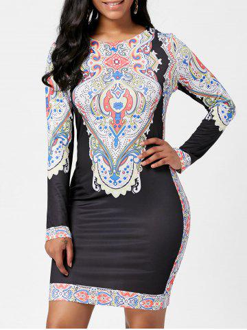 Tribal Print Fitted Dress with Sleeves - Black - Xl