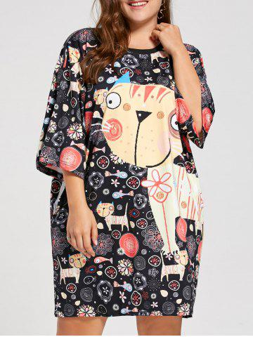 Plus Size Kitten Funny Printed Tee Dress - Black - One Size