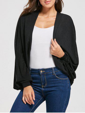 Draped Cardigan with Batwing Sleeve - Black - One Size
