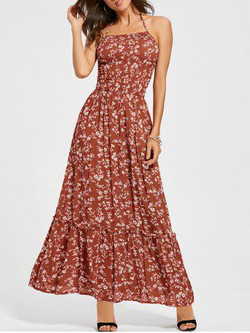 Outfits Back Lace Up Floral Halter Maxi Sundress RED L