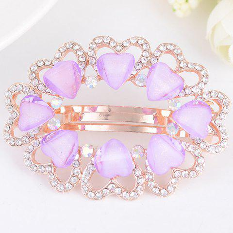 Tiny Heart Rhinestone Embellished Round Barrette Pourpre