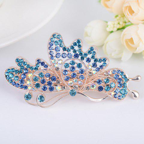 Sale Hollow Out Rhinestone Butterfly Shape Barrette BLUE