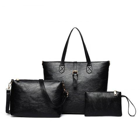 Fashion Three Pieces PU Leather Buckle Strap Shoulder Bag Set BLACK