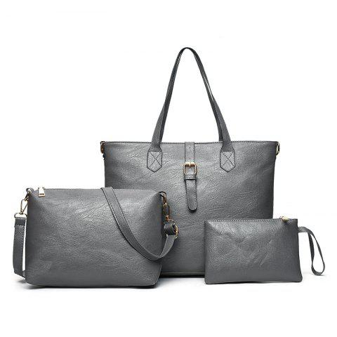 Cheap Three Pieces PU Leather Buckle Strap Shoulder Bag Set - GRAY  Mobile
