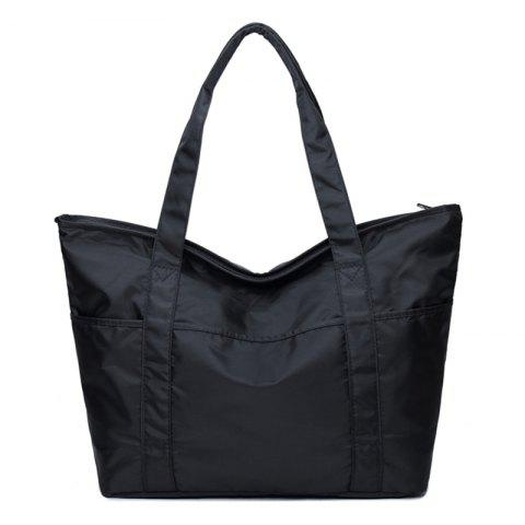 Stitching Nylon Shoulder Bag - Black