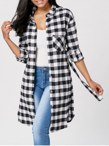 Long Sleeve Plaid Flannel Shirt with Belt - Black - S