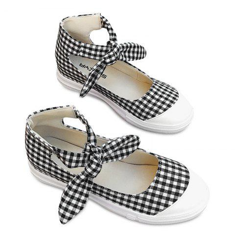 Gingham Bowknot Ankle Cuff Flat Shoes - Black - 39