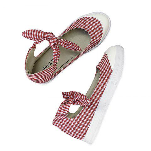 Outfit Gingham Bowknot Ankle Cuff Flat Shoes RED 39