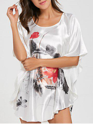 Batwing Sleeve Tunic Pajama Top - White - One Size