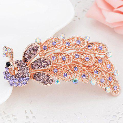 Buy Faux Crystal Inlaid Peacock Shape Barrette