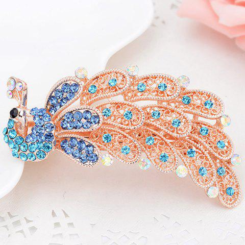 Fashion Faux Crystal Inlaid Peacock Shape Barrette - BLUE  Mobile
