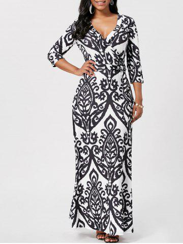 Wrap Ethnic Print Maxi Dress - Black - 2xl