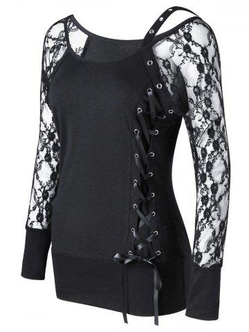 Outfits Raglan Sleeve Fitted Lace Up Top