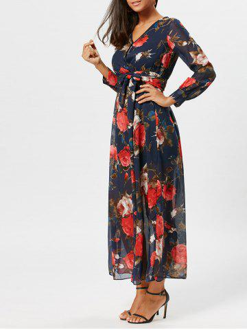 Fancy Flower Print Chiffon Maxi Surplice Dress