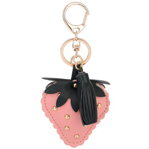 Fancy Tassel Rivet Strawberry Design Keychain PINK