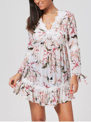 Empire Waist Flower Print Chiffon Tunic Dress - White - Xl