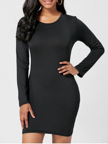 Long Sleeve Short Bodycon Fitted Dress - Black - M