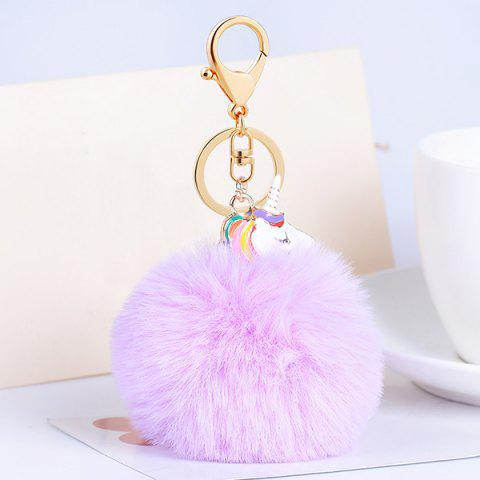 Discount Pendant Pompon Puff Ball Keychain - PURPLE  Mobile