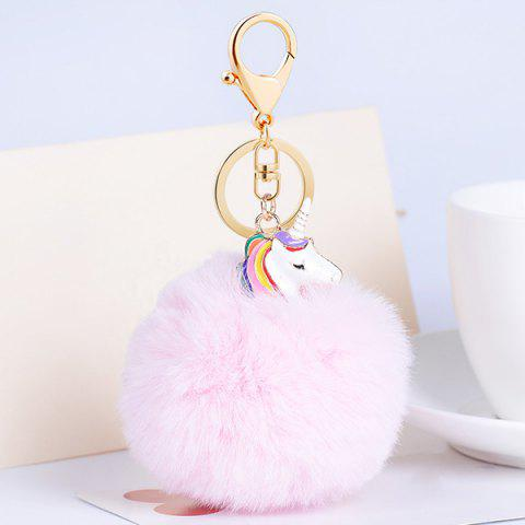 Pendentif Pompon Puff Ball Keychain Rose Clair