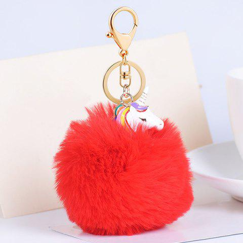 Chic Pendant Pompon Puff Ball Keychain - RED  Mobile