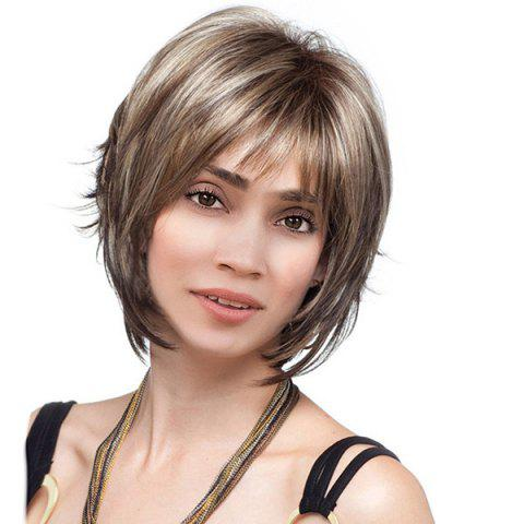 Short Side Bang Colormix Straight Synthetic Wig - Brown