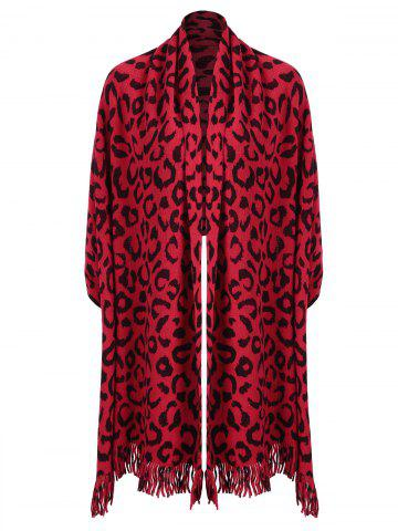 Unique Fringed Leopard Print Plus Size Knitted Cape - ONE SIZE RED Mobile