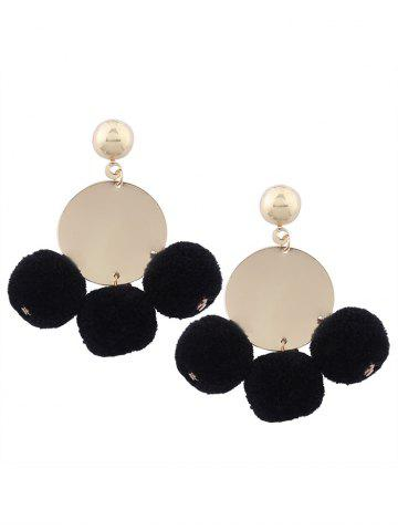 Fuzzy Ball Disc Round Earrings - Black