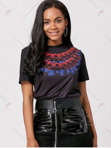 Shop Short Sleeve Rose 3D Print Long T-shirt - S BLACK Mobile