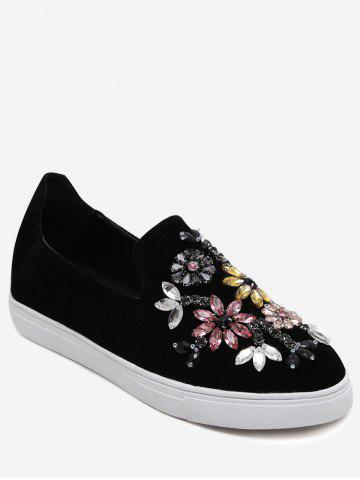 Cheap Suede Beading Slip On Flat Shoes - 37 BLACK Mobile