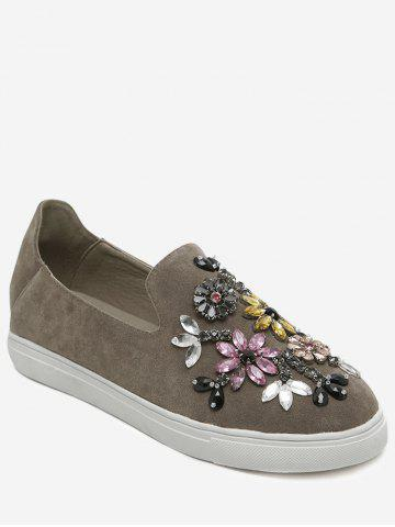 Store Suede Beading Slip On Flat Shoes
