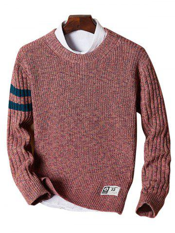 Crew Neck Heathered Striped Sweater - Watermelon Red - L