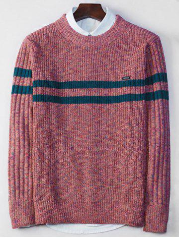 Crew Neck Stripe Ribbed Knit Sweater - Watermelon Red - L