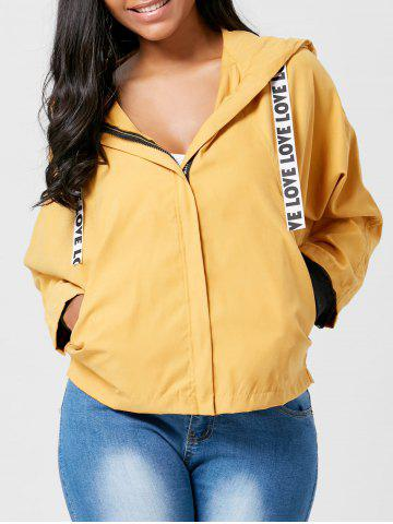 Fashion Batwing Sleeve Zip Up Hooded Jacket EARTHY L