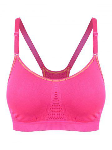 Cheap Adjustable Comfortable Sports Padded Bra - L LIGHT PINK Mobile