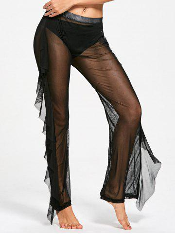 New Ruffled See Through Mesh Cover Up Pants - M BLACK Mobile